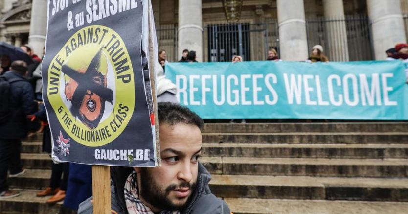 Manifestazione a Brussels contro Trump